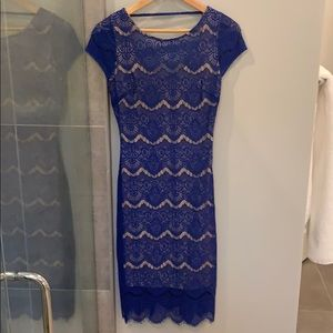 Bebe royal blue nude lined dress with stretch